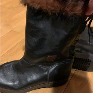 Leather fur trim boots